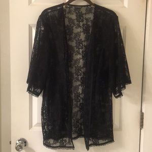 Express Small Black Lace Coverup